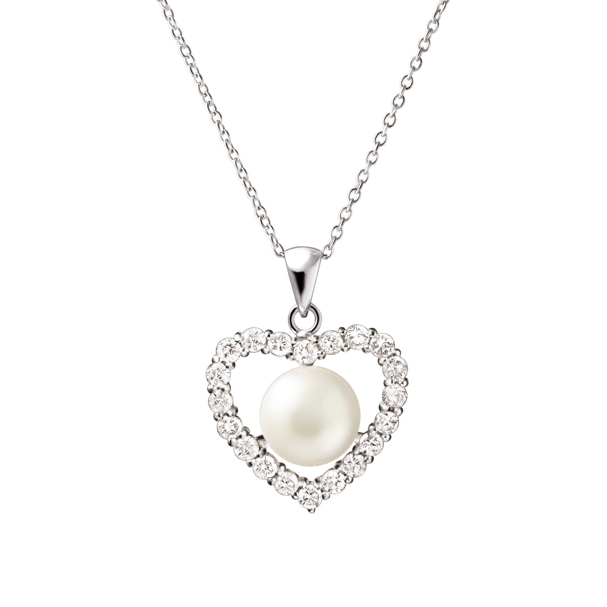 Beautiful large white natural pearl heart pendant necklace cz beautiful large white natural pearl heart pendant necklace cz sterling silver mozeypictures Image collections