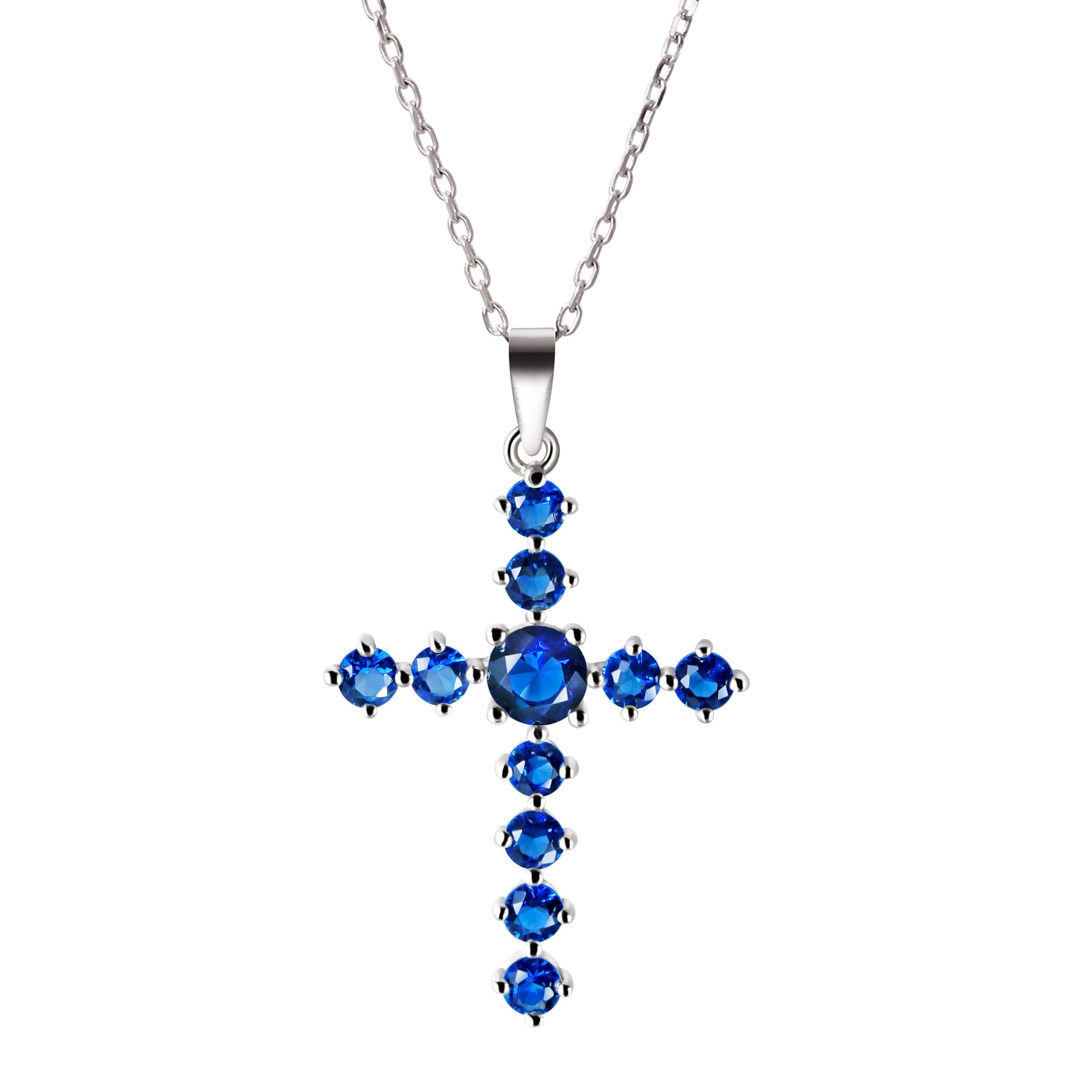Dainty delicate sapphire coloured crystal gemstone sterling dainty delicate sapphire coloured crystal gemstone sterling silver cross pendant necklace aloadofball Image collections