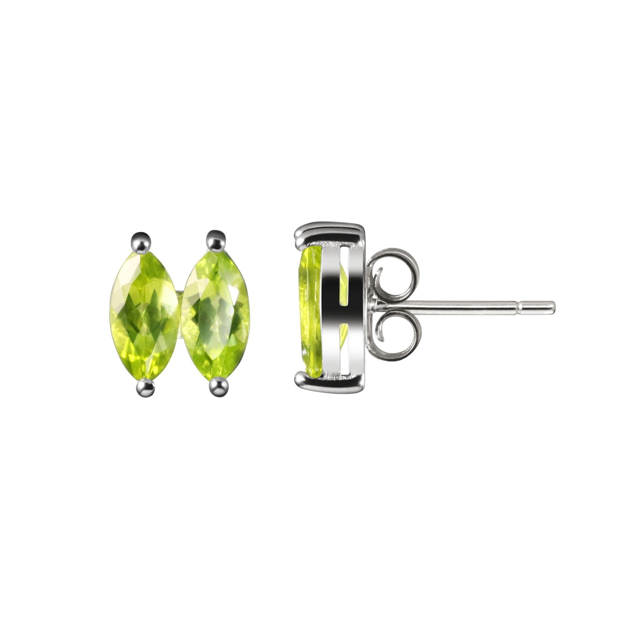 emerald gold earrings in stud marquise yellow diamond gemstone pid and
