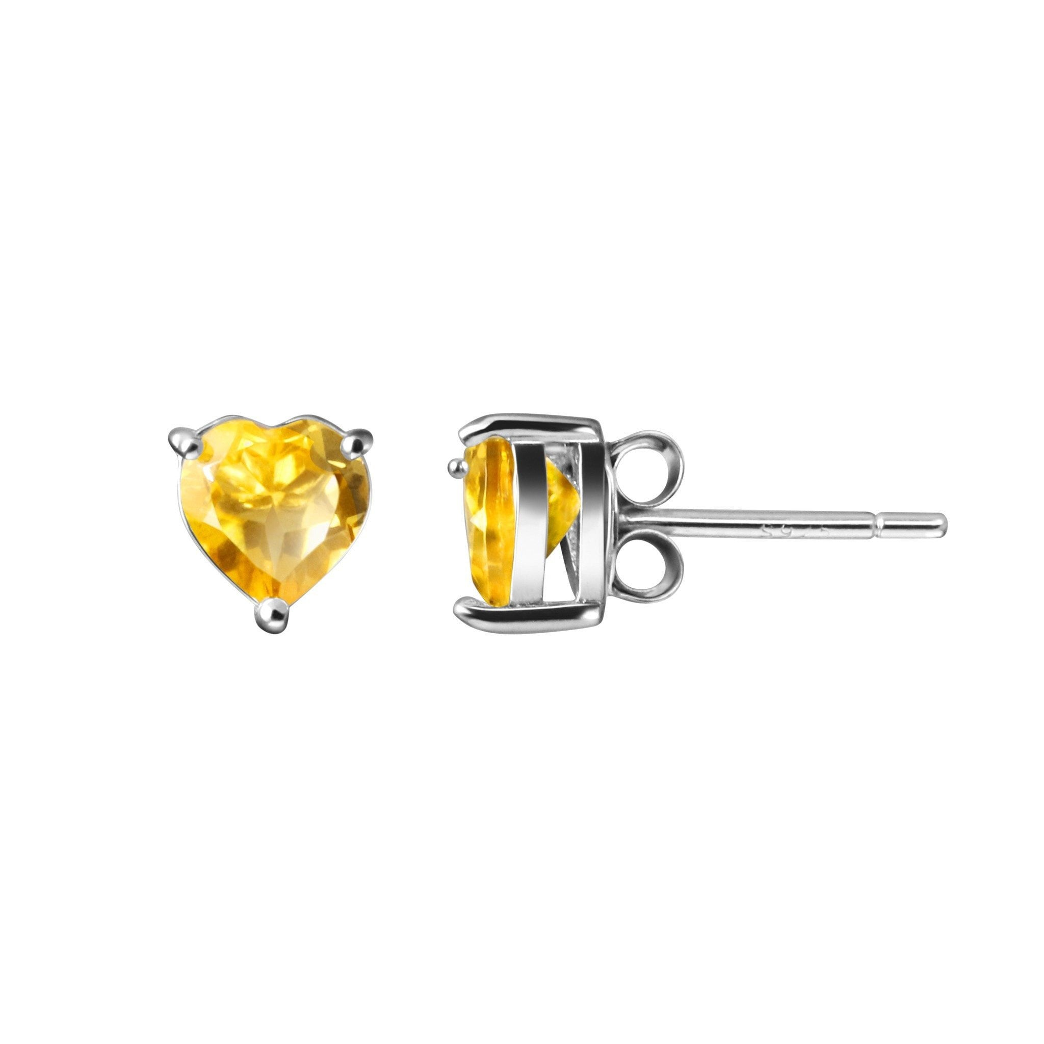 facetted baker franki earrings citrine stud sterling heart shaped silver jewellery collections