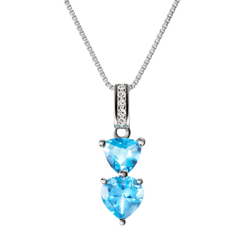 Womens silver gemstone necklaces franki baker jewellery sterling silver heart shaped natural blue topaz gemstone pendant necklace aloadofball Image collections