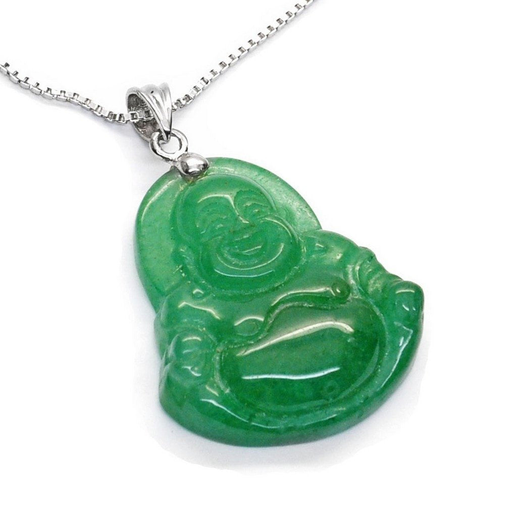 Lucky laughing buddha green aventurine pendant on silver chain lucky laughing buddha green aventurine pendant on silver chain aloadofball Image collections