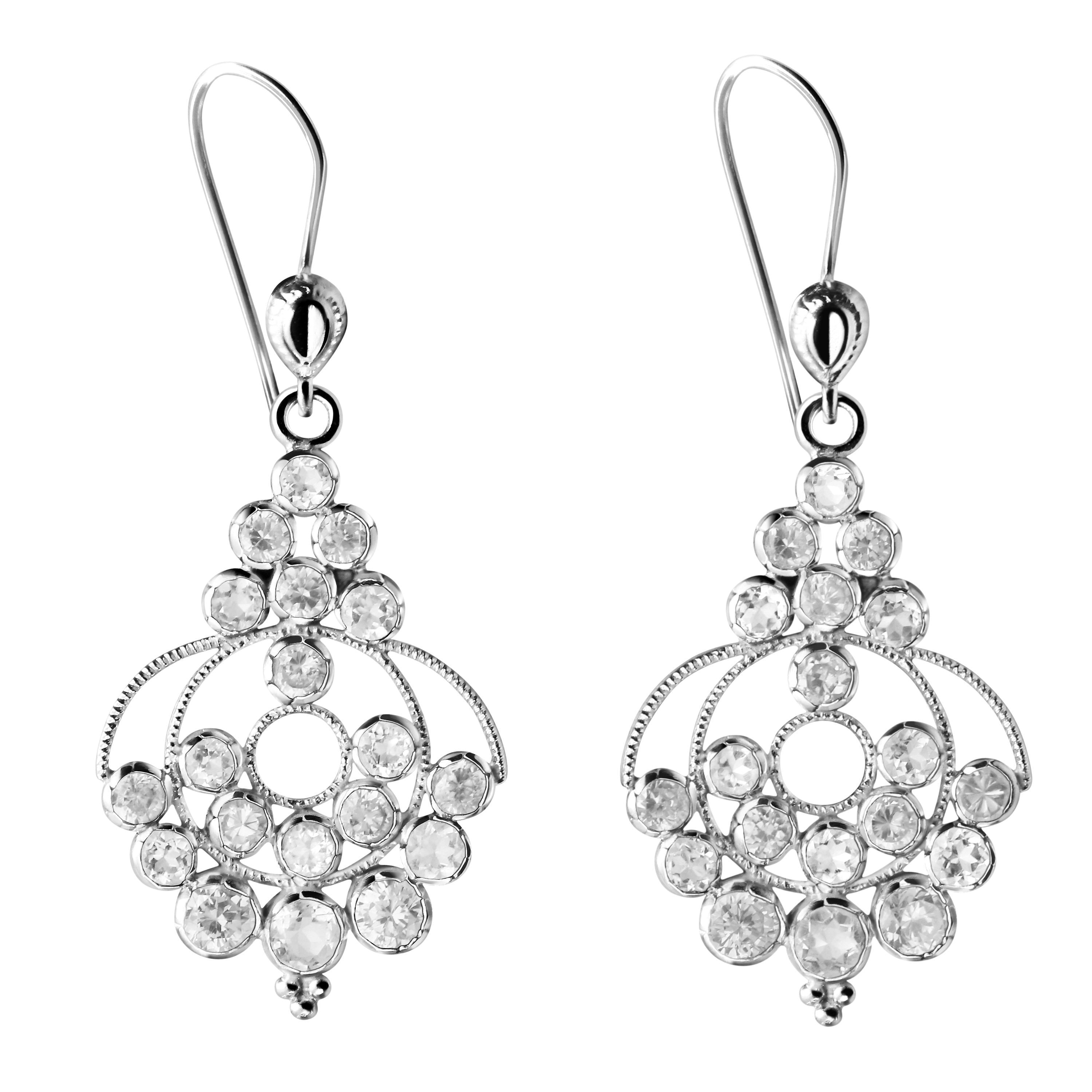 Red Diamond Chandelier Earrings: Simulated Diamond And Silver Chandelier Earrings