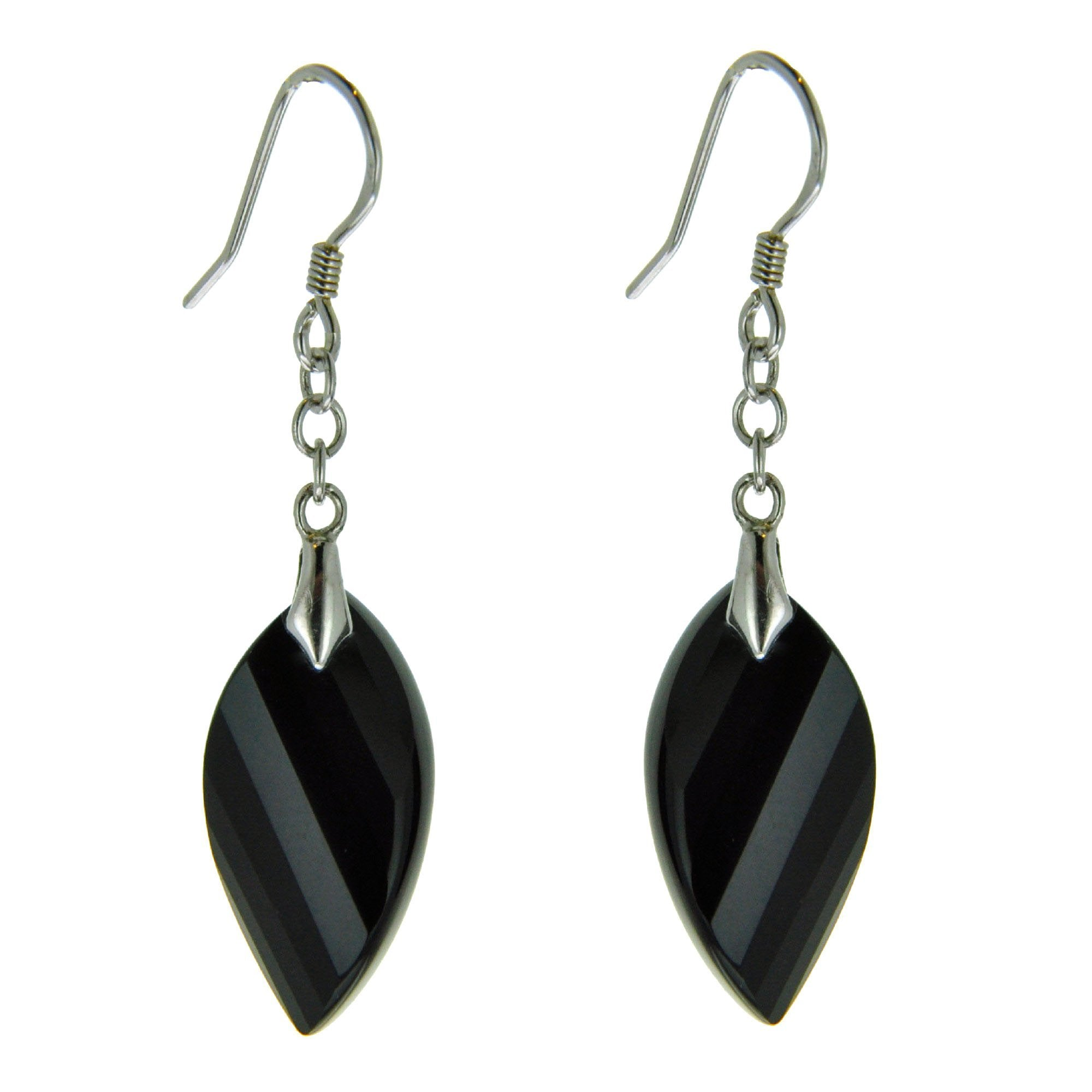 Earrings Genuine Black Onyx Long Hook For Women Sterling Silver Faceted Cut Jewelery Marquise Shape Charm Z61OH3