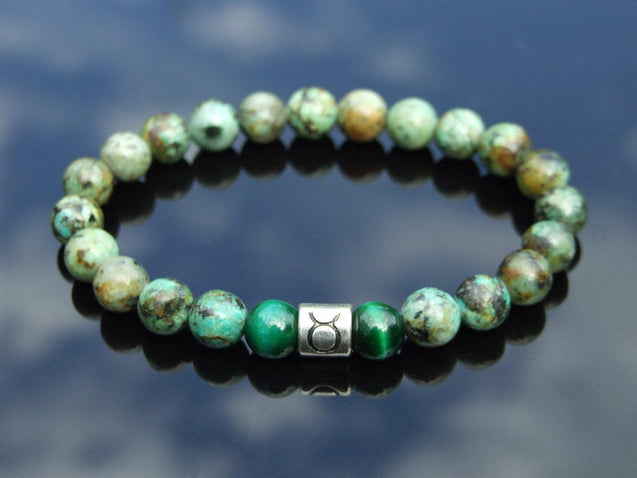 Taurus African Turquoise Tiger Eye Birthstone Bracelet 6-9'' Elasticated-Gemstone Bracelets-Michael's UK Jewellery