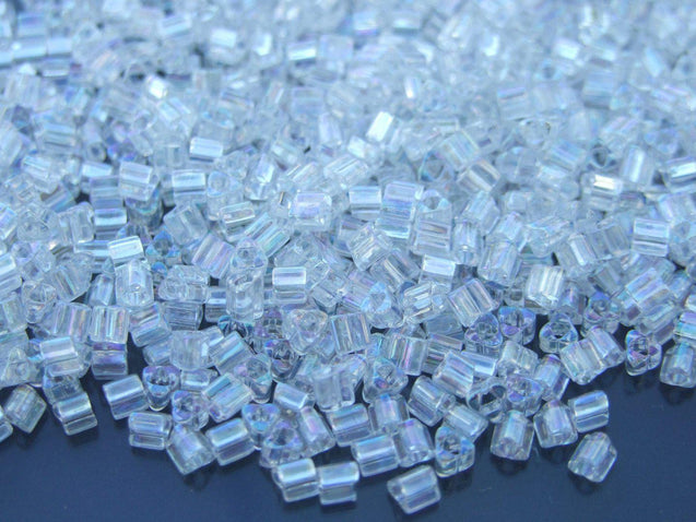 10g 161 Transparent Rainbow Crystal Toho Triangle Seed Beads 8/0 3mm-TOHO Glass Beads-Michael's UK Jewellery