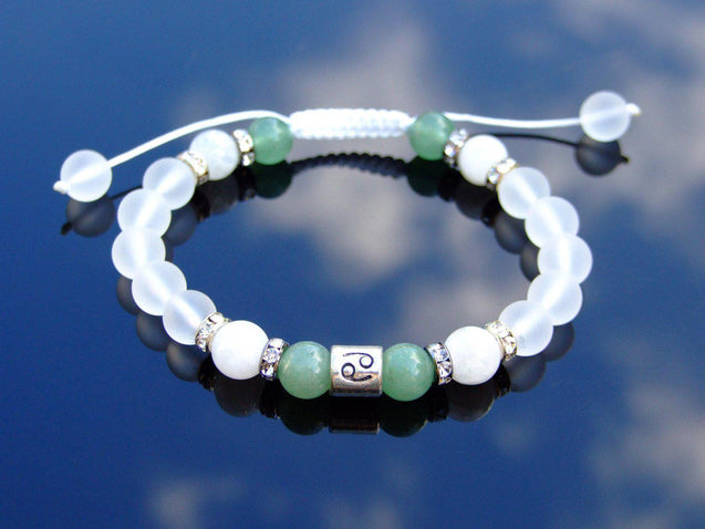 Cancer Moonstone Aventurine Birthstone Bracelet 6-9'' Macrame-Gemstone Bracelets-Michael's UK Jewellery