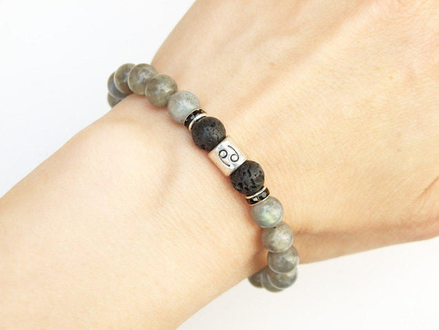 Cancer Labradorite Lava Birthstone Bracelet 6-9'' Macrame-Gemstone Bracelets-Michael's UK Jewellery
