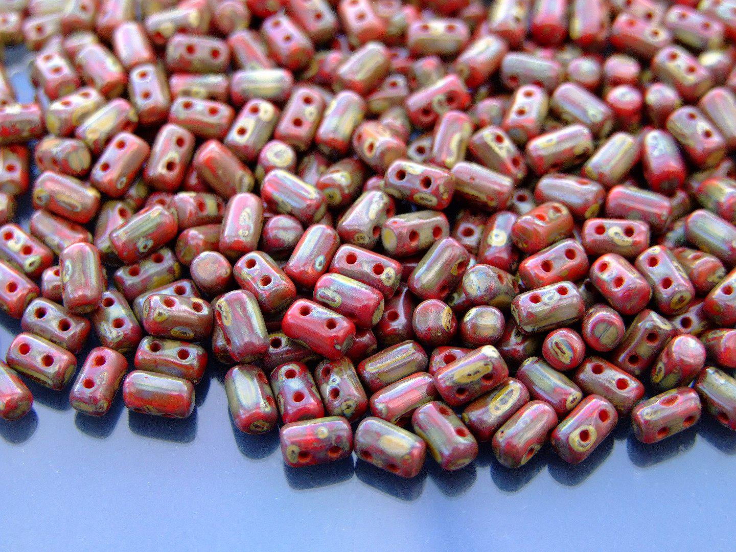 10g Czech SuperDuo Twin Beads Opaque Red Picasso