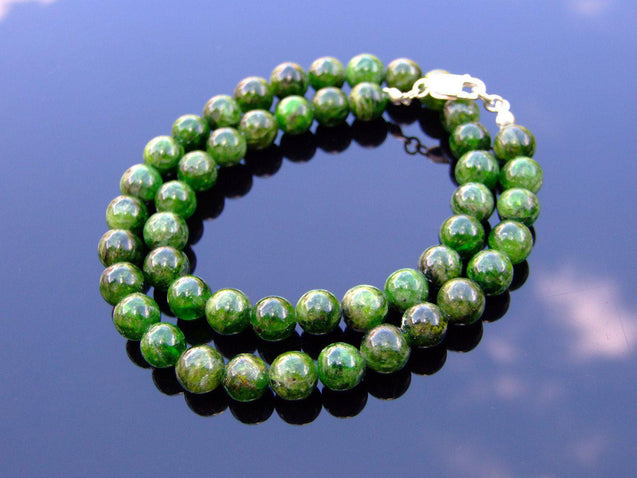 Diopside Natural Gemstone Necklace 8mm Beaded 16-30inch-Michael's UK Jewellery