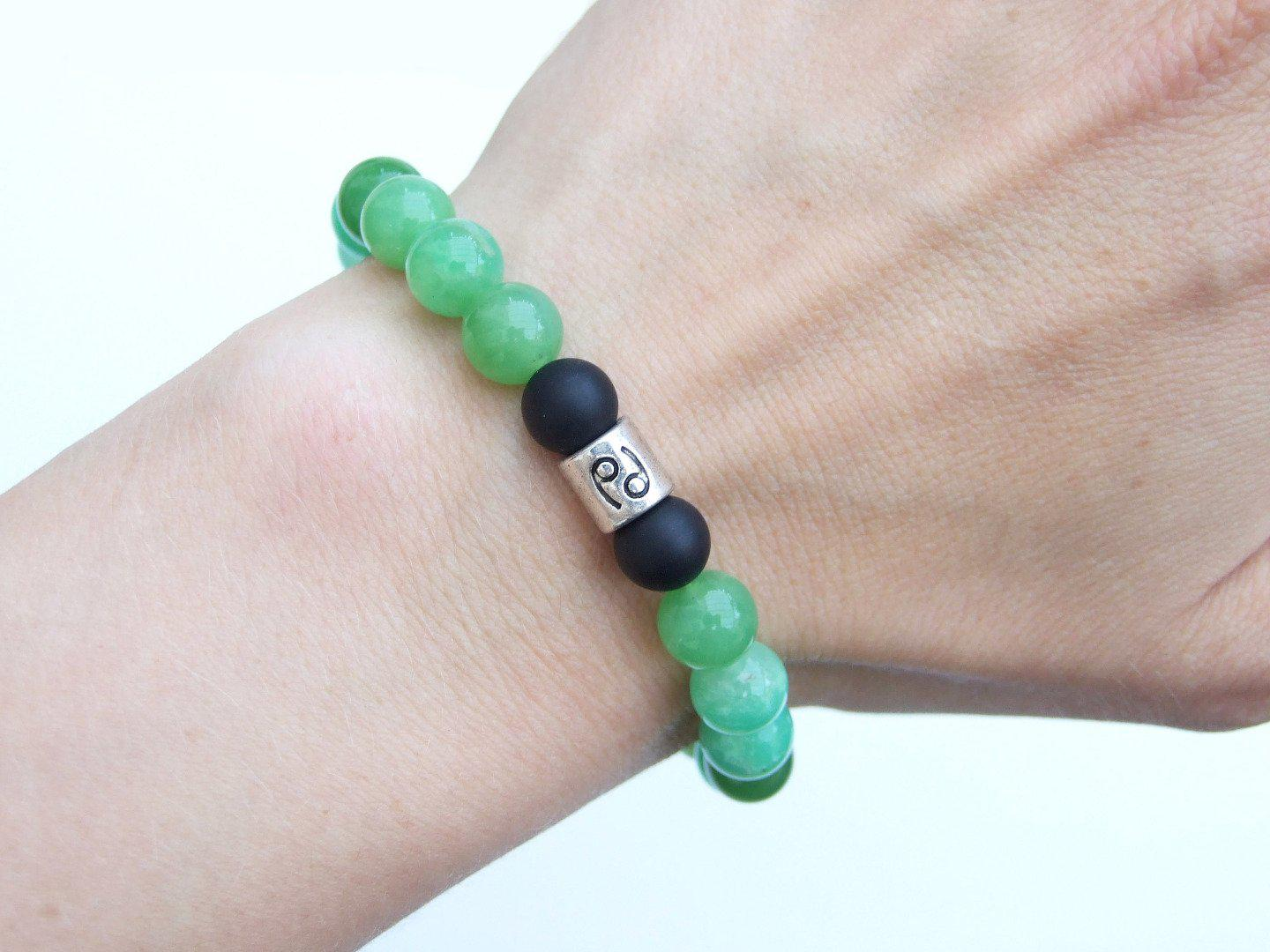 Cancer-Chrysoprase-Birthstone-Bracelet-6-9-039-039-Elasticated-Healing-Stone-Chakra thumbnail 9