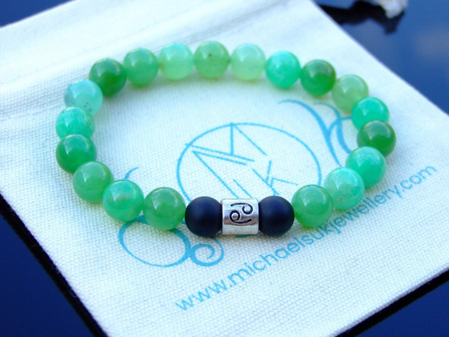 Cancer-Chrysoprase-Birthstone-Bracelet-6-9-039-039-Elasticated-Healing-Stone-Chakra thumbnail 11
