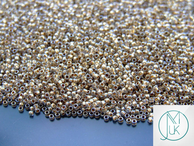 100g 989 Golden Lined Crystal Toho Seed Beads 15/0 1.5mm WHOLESALE-TOHO Glass Beads-Michael's UK Jewellery