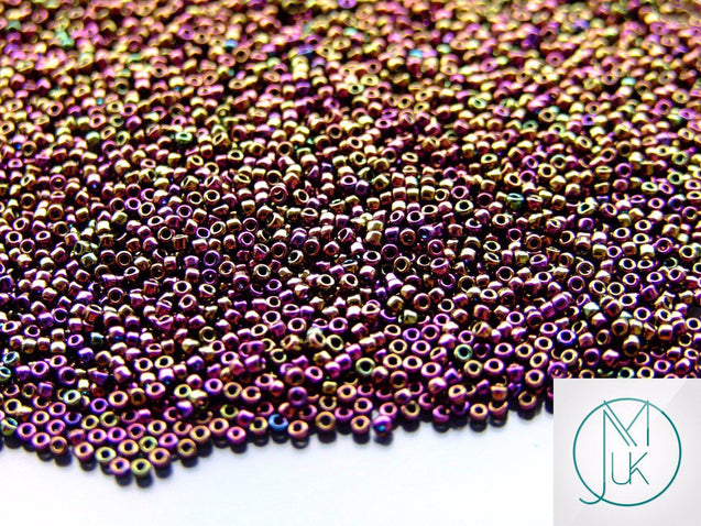 100g 85 Metallic Iris Purple Toho Seed Beads 15/0 1.5mm WHOLESALE-TOHO Glass Beads-Michael's UK Jewellery
