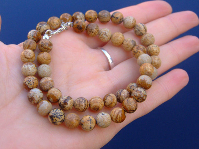 Picture Jasper Natural Gemstone Necklace 8mm Beaded 16-30inch-Michael's UK Jewellery
