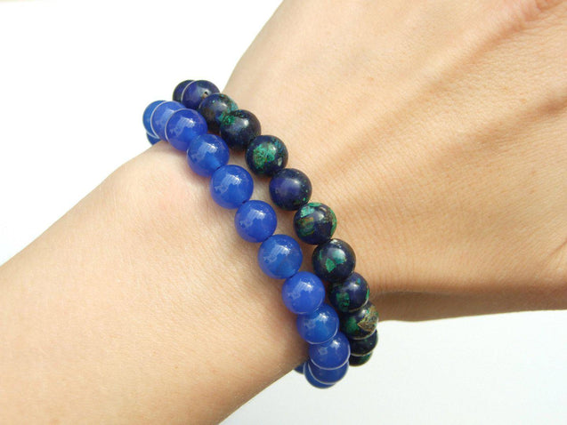 Couple Azurite/Agate Natural Gemstone Bracelet 6-9'' Elasticated-Gemstone Couple Bracelets-Michael's UK Jewellery