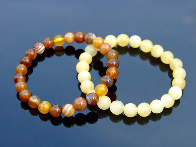 Couple Calcite/Agate Natural Gemstone Bracelet 6-9'' Elasticated-Gemstone Couple Bracelets-Michael's UK Jewellery