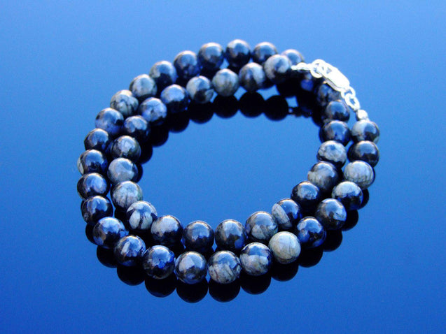 Llanite Que Sera Natural Gemstone Necklace 8mm Beaded 16-30inch-Michael's UK Jewellery