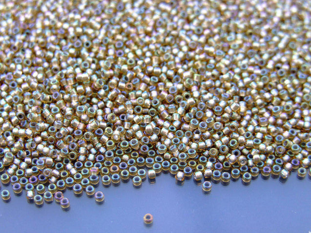 100g 279 Inside Color Rainbow Light Topaz/Gray Lined Toho Seed Beads 15/0 1.5mm WHOLESALE-TOHO Glass Beads-Michael's UK Jewellery