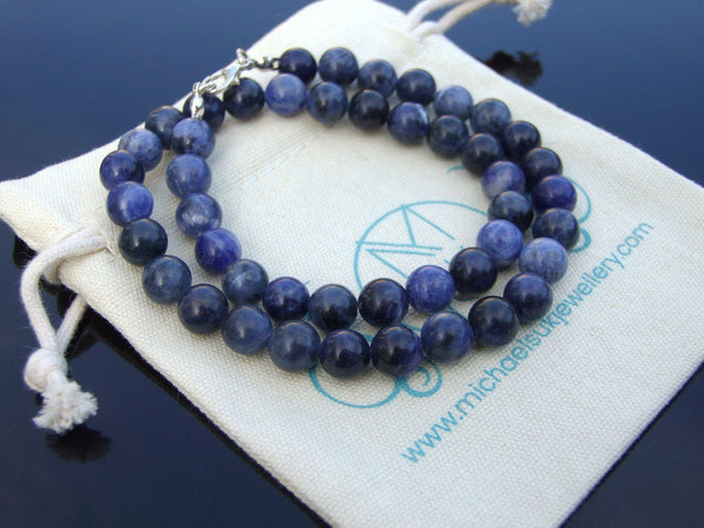 Sodalite Natural Gemstone Necklace 8mm Beaded 16-30inch-Michael's UK Jewellery