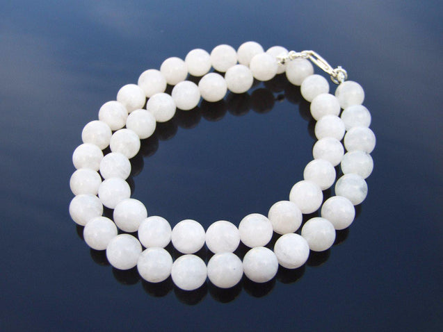 Moonstone Natural Gemstone Necklace 8mm Beaded 16-30inch-Michael's UK Jewellery