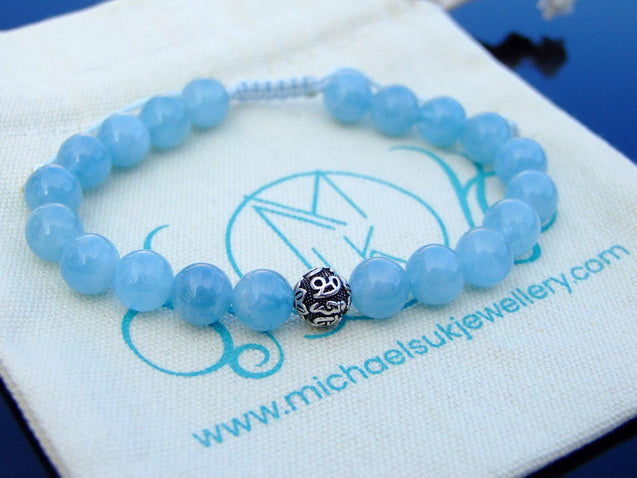 Aquamarine Om Sterling Silver Natural Gemstone Bracelet 6-9'' Macrame-Gemstone Bracelets-Michael's UK Jewellery