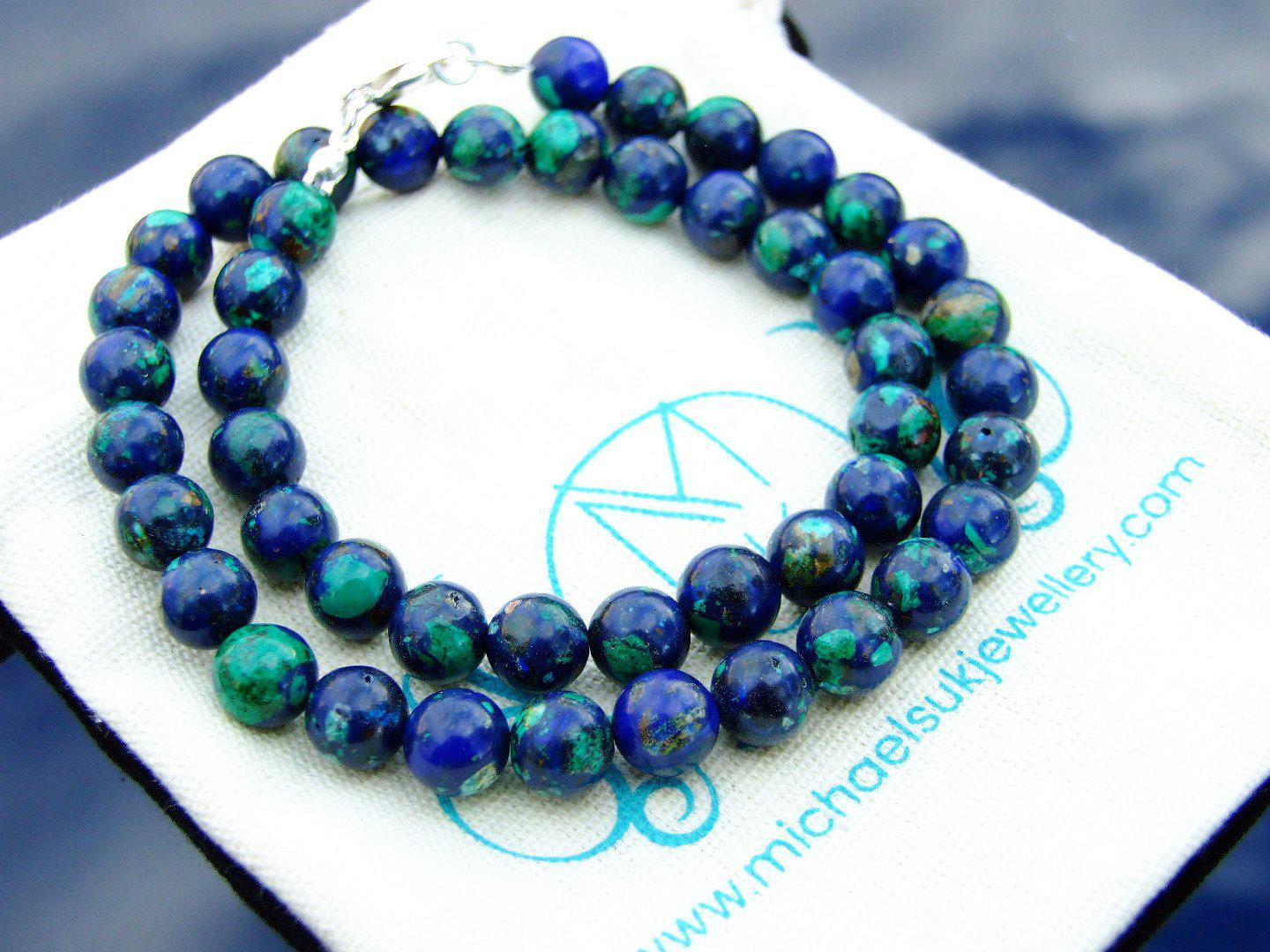 Azurite-Natural-Gemstone-Necklace-8mm-Beaded-Silver-16-30inch-Healing-Chakra thumbnail 5