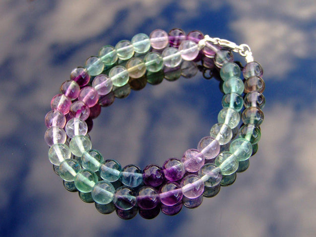 Multi Fluorite Natural Gemstone Necklace 8mm Beaded 16-30inch-Michael's UK Jewellery