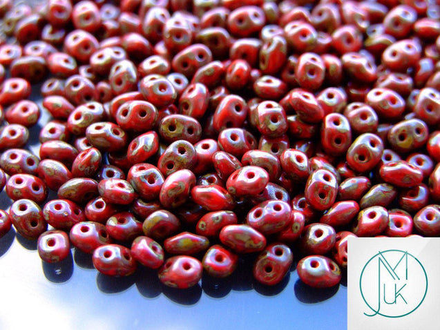 100g SuperDuo Beads Opaque Red Picasso WHOLESALE-Matubo Glass Beads-Michael's UK Jewellery