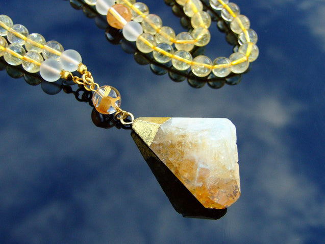 Citrine Quartz Natural Gemstone Mala Prayer Necklace-Gemstone Necklaces-Michael's UK Jewellery