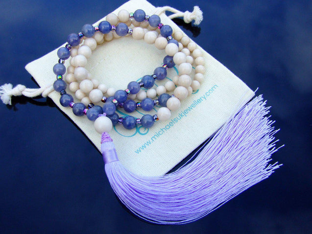 Tanzanite Jasper Natural Gemstone Mala Prayer Necklace-Gemstone Necklace-Michael's UK Jewellery