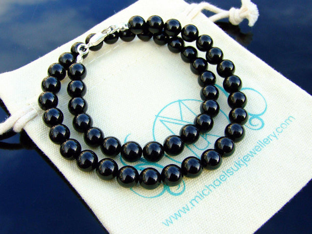 Black Tourmaline Natural Gemstone Necklace 8mm Beaded 16-30inch-Michael's UK Jewellery