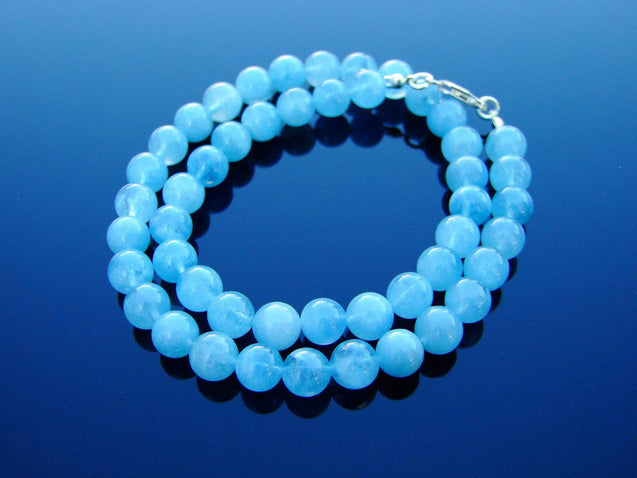 Aquamarine Natural Gemstone Necklace 8mm Beaded 16-30inch-Michael's UK Jewellery