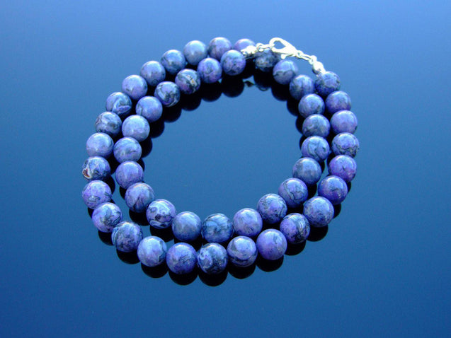 Purple Scenery Jasper Natural Dyed Gemstone Necklace 8mm Beaded 16-30inch-Michael's UK Jewellery