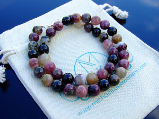 Pink Tourmaline Natural Gemstone Necklace 8mm Beaded 16-30inch-Michael's UK Jewellery