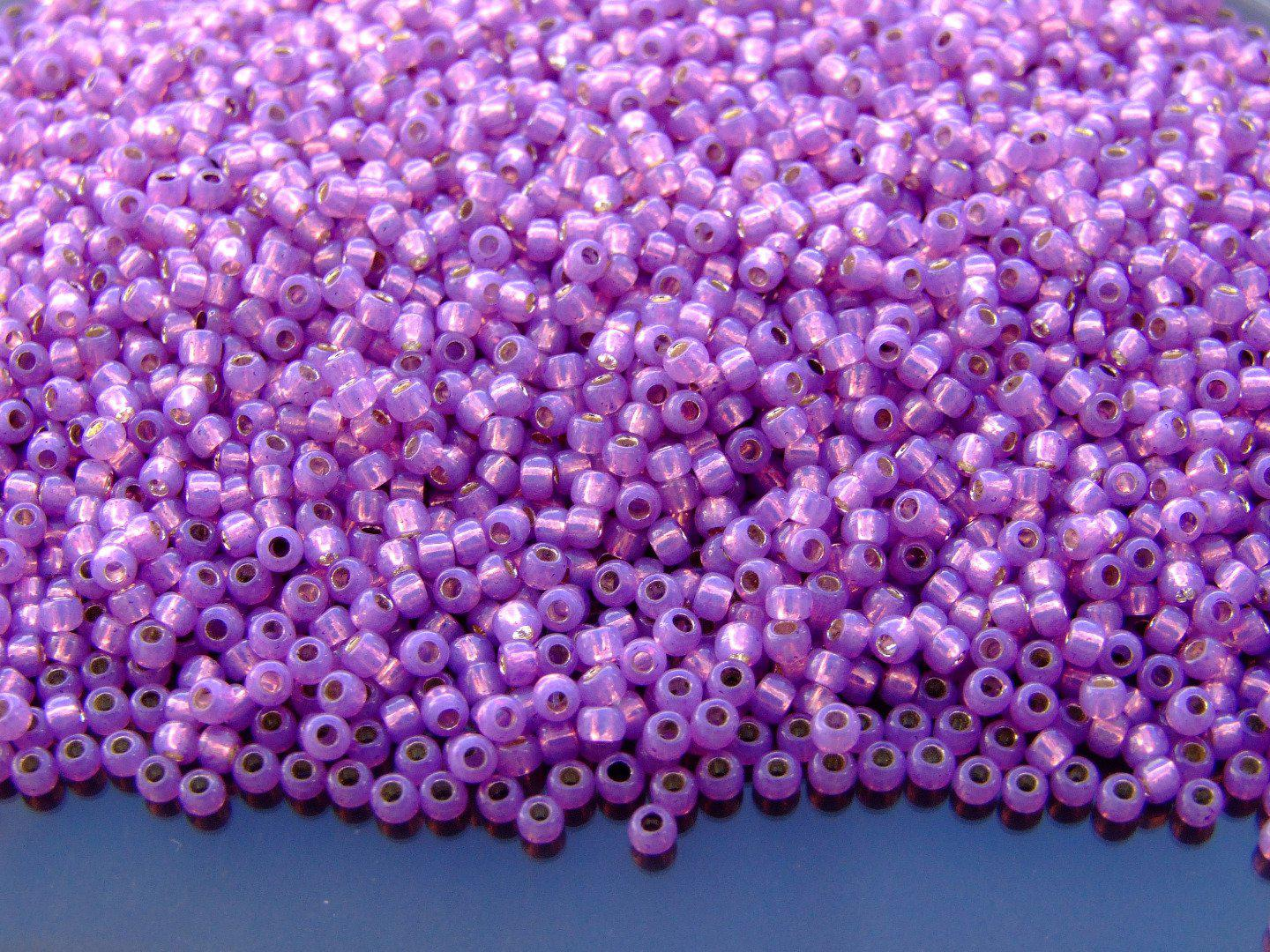 2.2 mm Silver Lined Dark Amethyst Toho Japanese Seed Beads 10g Size 11//0
