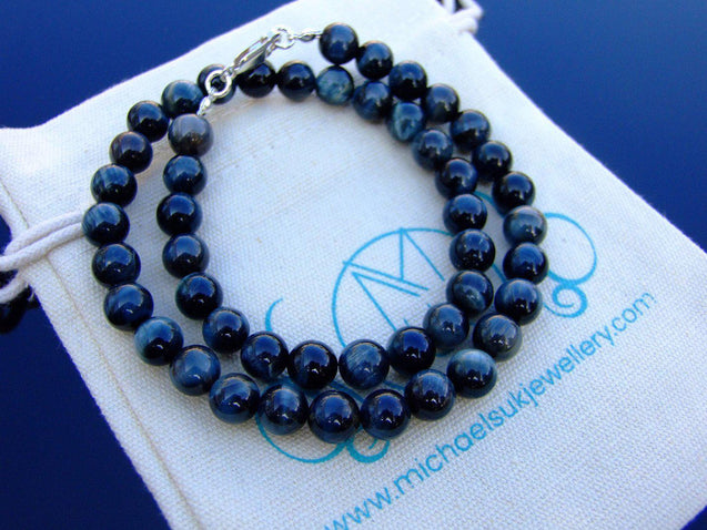 Hawks Eye/Blue Tigers Eye Natural Gemstone Necklace 8mm Beaded 16-30inch-Michael's UK Jewellery