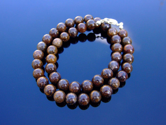 Bronzite Natural Gemstone Necklace 8mm Beaded 16-30inch-Michael's UK Jewellery