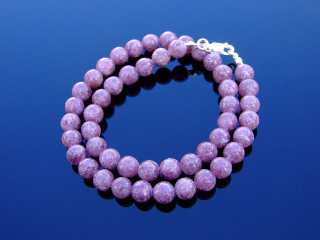 Lepidolite Natural Gemstone Necklace 8mm Beaded 16-30inch-Michael's UK Jewellery