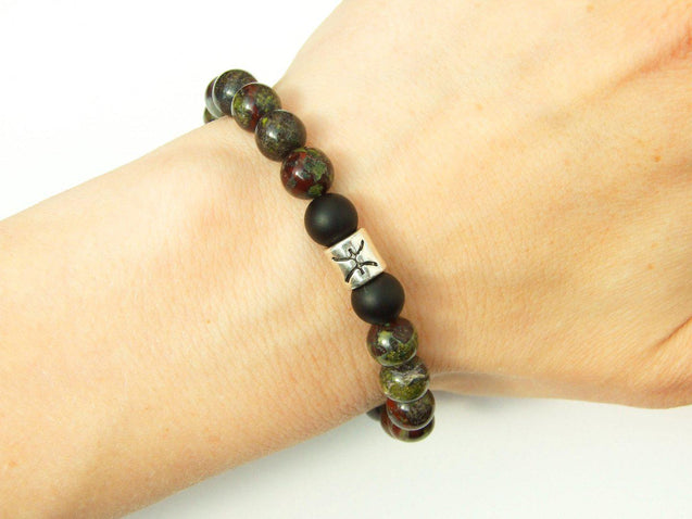 Pisces Bloodstone Onyx Birthstone Bracelet 6-9'' Elasticated-Gemstone Bracelets-Michael's UK Jewellery
