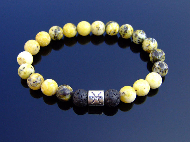 Pisces Yellow Turquoise Lava Birthstone Bracelet 6-9'' Elasticated-Gemstone Bracelets-Michael's UK Jewellery
