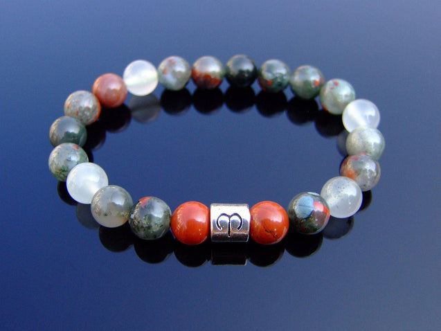 Aries Moss Agate Red Jasper Birthstone Bracelet 6-9'' Elasticated-Gemstone Bracelets-Michael's UK Jewellery