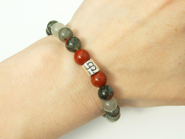 Aries Red Jasper Bloodstone Birthstone Bracelet 6-9'' Elasticated Healing Stone-Gemstone Bracelets-Michael's UK Jewellery