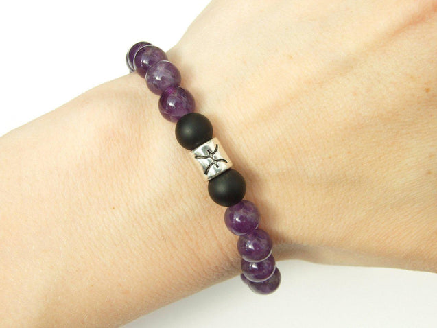 Pisces Amethyst Onyx Birthstone Bracelet 6-9'' Elasticated-Gemstone Bracelets-Michael's UK Jewellery