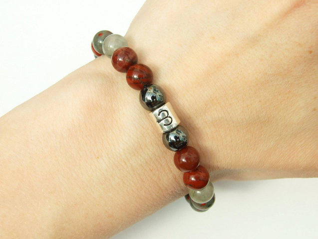 Aries Hematite Bloodstone Birthstone Bracelet 6-9'' Macrame-Gemstone Bracelets-Michael's UK Jewellery