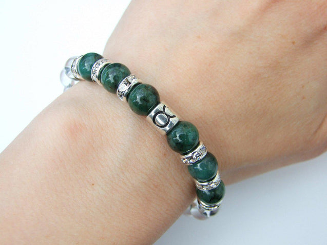 Taurus Emerald Quartz Birthstone Bracelet 6-9'' Macrame-Gemstone Bracelets-Michael's UK Jewellery