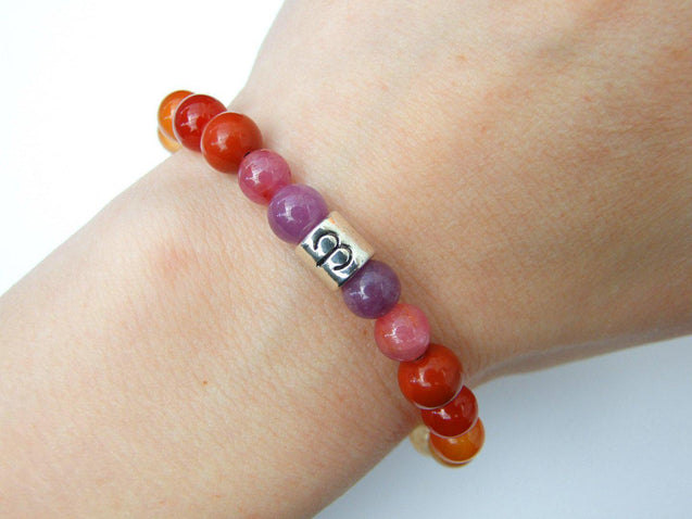 Aries Ruby Carnelian Citrine Birthstone Bracelet 6-9'' Macrame-Gemstone Bracelets-Michael's UK Jewellery