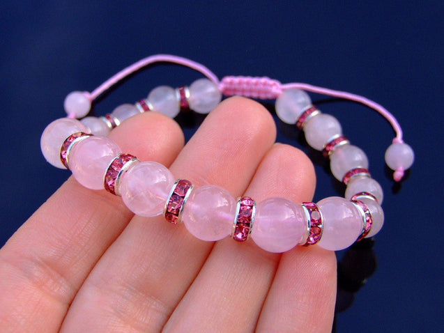 Rose Quartz Natural Dyed Gemstone Bracelet 6-9'' Macrame-Gemstone Bracelets-Michael's UK Jewellery