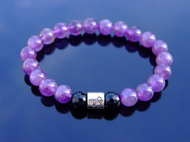 Capricorn Amethyst Onyx Birthstone Bracelet 6-9'' Elasticated-Gemstone Bracelets-Michael's UK Jewellery