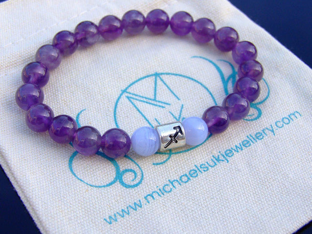 Sagittarius Amethyst Lace Agate Birthstone Bracelet 6-9'' Elasticated-Gemstone Bracelets-Michael's UK Jewellery